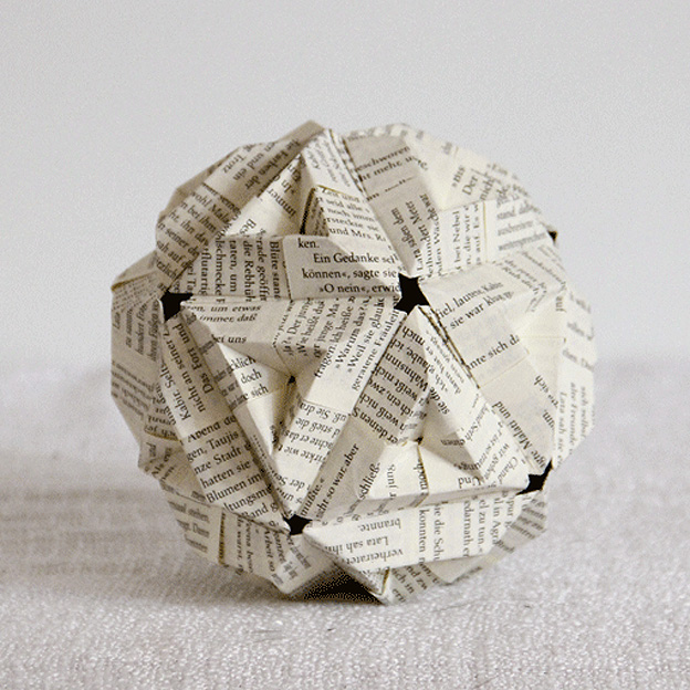 Abstract geometric paper origami sphere compositio | 624x624
