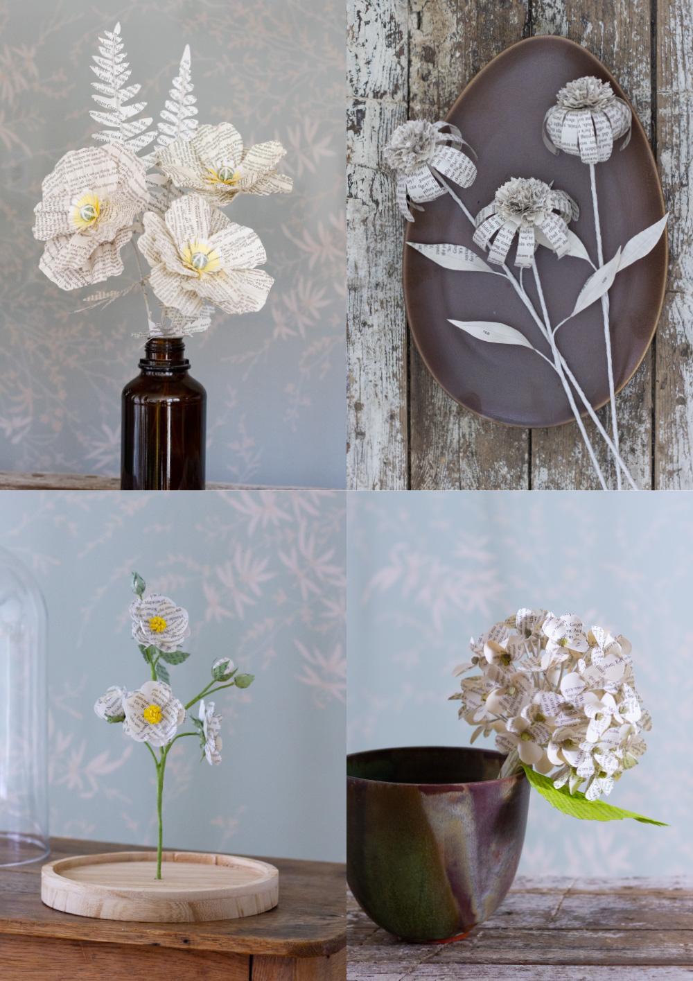 Papier-Blumen aus alten Büchern_Collage
