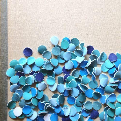 Konfetti-Collage Sprung ins kalte Wasser